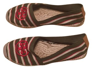 Tory Burch Green red and white Flats
