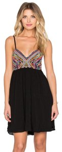 PilyQ short dress Black Embroidered Tribal Flirty Tie Mini on Tradesy