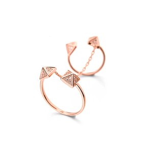 Titan Bliss Magnificent Pyramid Cuff Ring 18k Rose Gold
