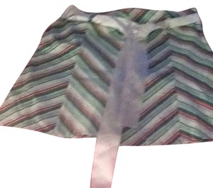 Kenzie Skirt White with Green & Red Diagonal Lines
