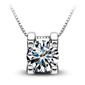 New 14K White Gold Filled Cubic Zirconia Necklace J2917