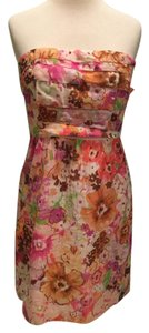 J.Crew short dress Pink Strapless Floral Sweetheart on Tradesy