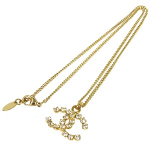 Chanel Chanel Gold Rhinestone Chain Link CC Charm Necklace