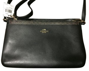 Coach Black Leather Signature Cross Body Bag