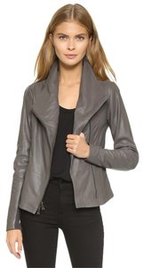 Vince Paper Scuba Leather Grey Gray Leather Jacket