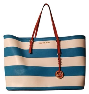 Michael Kors Tote in Turquoise & White Nautical Stripe with Luggage accents