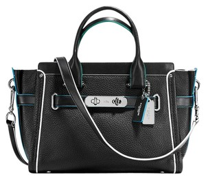 Coach 38453 Edgestain Tricolor Swagger 27 Satchel in Black Tricolor