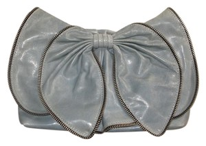 Susan Farber Collections Leather Bows Denim Blue Clutch