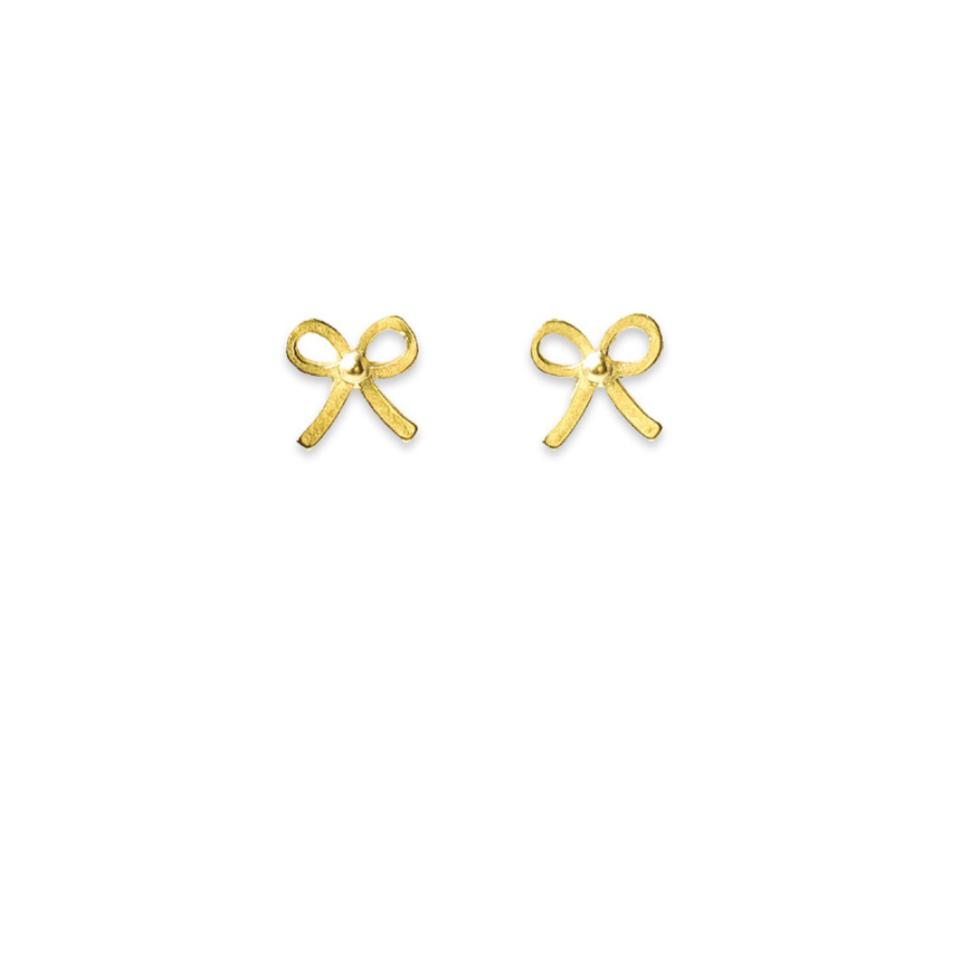 aa4a0105b Dogeared Gold Small Simple Bow Stud Earrings Dipped Necklace - Tradesy