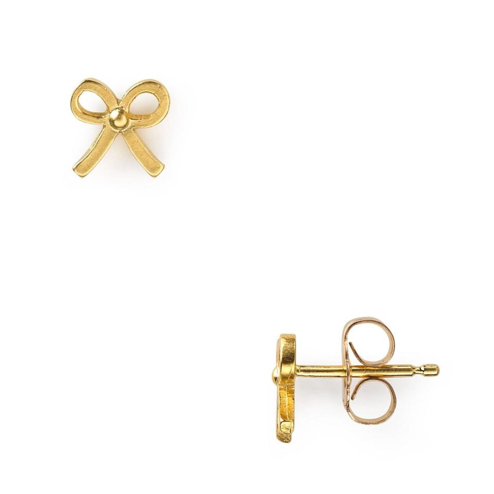 ed09541c0 Dogeared small simple bow stud earrings, gold dipped Image 8. 123456789