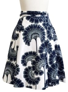 Kate Spade Florence Broadhurst Bow A-line Skirt Black White Floral