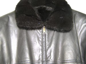 David Green Bomber Leather Black Mink Leather Jacket