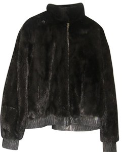 David Green Bomber 4 X L Clearance: Black Mink and Leather Leather Jacket