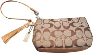 Coach Handbag Fashion Handbag Leather Monogram Wedding Reception Cocktail Party Cocktail Wristlet in Brown