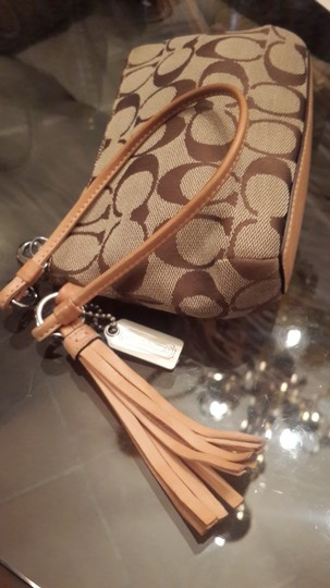 Coach Hand Clutch Fashion Hand Leather Monogram Wedding Reception Cocktail Party Cocktail Wristlet in Brown
