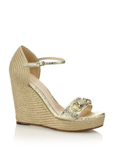 Gucci Leather Corded Wedge Gold Metallic Wedges