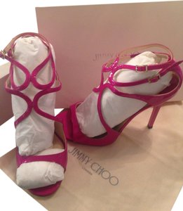 Jimmy Choo Lance Patent Leather Pink Fuchsia Heels Jazzberry, fuchsia-purple Sandals