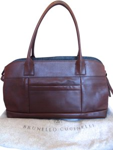 Brunello Cucinelli Italian Designer Tote in Chocolate Brown