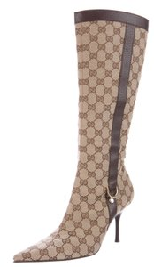 Gucci Monogram Beige, Brown Boots