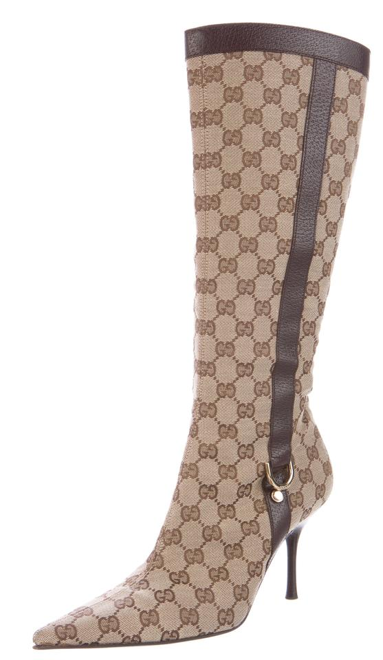 57745b3c0 Gucci Guccissima Monogram Pointed Toe Gg Gold Hardware Beige, Brown Boots  Image 0 ...