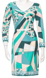 Emilio Pucci Longsleeve Monogram V-neck Dress