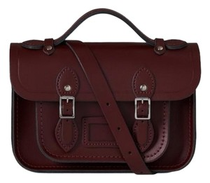 The Cambridge Satchel Company 100% Leather Embossed Logo Magnetic Closure Top Handle Strap Satchel in Oxblood