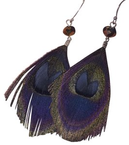 American Eagle Outfitters Colorful Peacock Feather Earrings Dangling Beaded Earrings