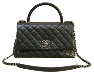 Chanel Caviar Tote Coco Cf Satchel in black