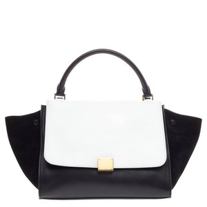 Céline Celine Leather Satchel in Black and White