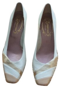 Cristian Beige and gold stripe Wedges