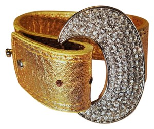 PAcn Gold Leather Bracelet With Crystals by PNcn