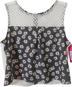 Xhilaration Lace Daisys Button Down Back Top Black/White