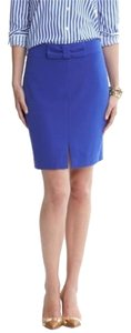 Banana Republic Bow Bow Cute Wear To Work Feminine Cobalt Pencil Pencil Front Vent Work Work Bow Bows Skirt Blue