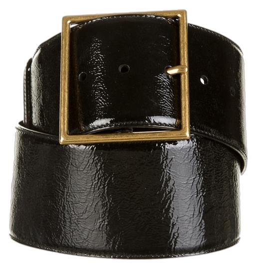 Saint Laurent Yves Saint Laurent Black Patent Leather Adjustable Belt
