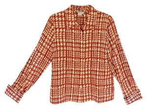 Worth Silk Casual Office Longsleeve Top Red, Brown Cream