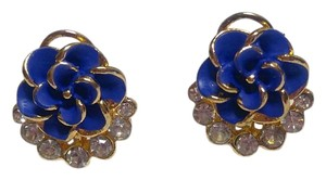 Betsey Johnson Betsey Johnson Flower Stud Earrings Blue Gold J2921