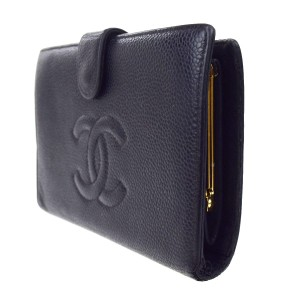 Chanel CHANEL CC Logos Long Bifold Wallet Purse Caviar Skin Leather Black