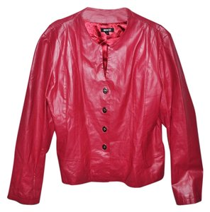 Metro Style Leather Plus-size Casual Fitted Red Jacket