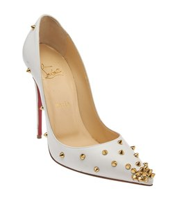 Christian Louboutin White Leather Pumps Gold,White Formal