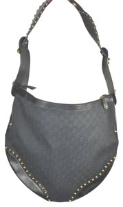 Gucci Large Hobo Canvas Studded Monogram Shoulder Bag