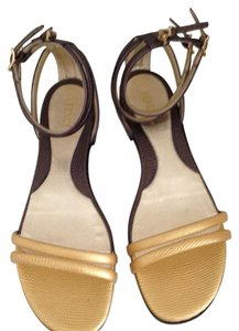Fendi gold and charcoal Sandals