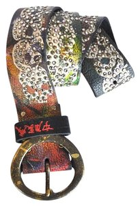 The Great China Wall Great China Wall Crystal Embellished Skull Leather Belt S/M