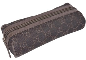 Gucci Gucci 251710 Brown Denim GG Guccissima Logo Cosmetic Travel Makeup Bag