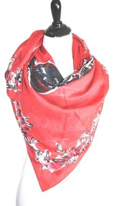 Balmain Balmain Paris Red Safety Pins Print Scarf 44x44