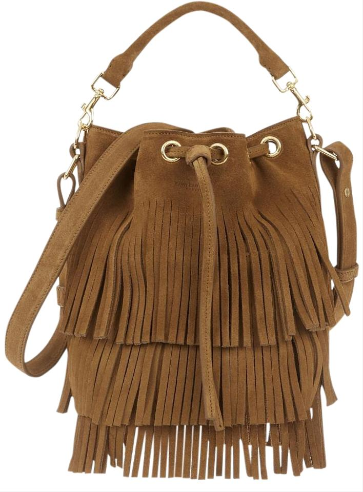 89bf85cfab Saint Laurent Emmanuelle Bucket Fringe Small Shoulder Tan Suede Cross Body  Bag
