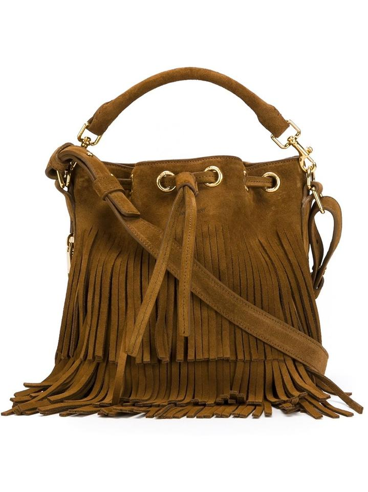 d421aa54a5 Saint Laurent Emmanuelle Bucket Fringe Small Shoulder Tan Suede Cross Body  Bag - Tradesy