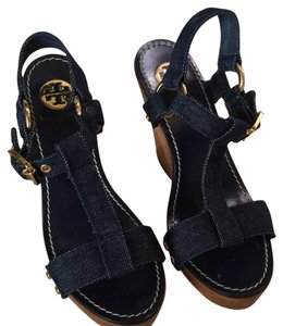 Tory Burch Denim/gold hardware/wood color Wedges