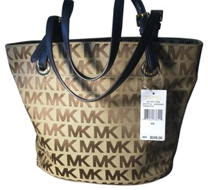 Michael Kors Tote in Brown With A Navy Blue Leather Trim