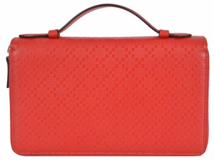 Gucci Gucci $920 336298 Red Leather Diamante Double Zip Travel Clutch Wallet