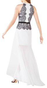 BCBGMAXAZRIA Fitted Halter Lace Trim Dress